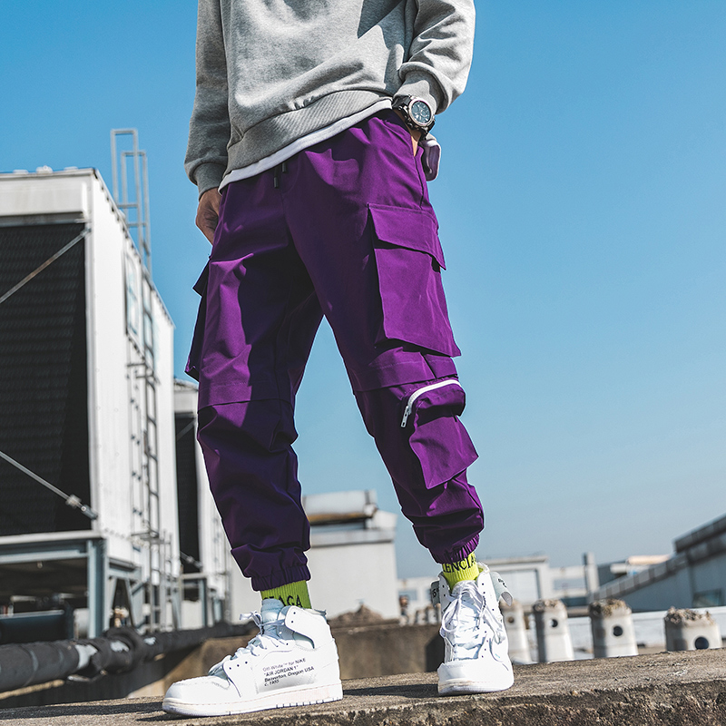 2020 Spring Cargo Pants Men Cotton Drawstring Many Pockets Joggers Trousers Purple Black Ankle Banded Male Casual Pants