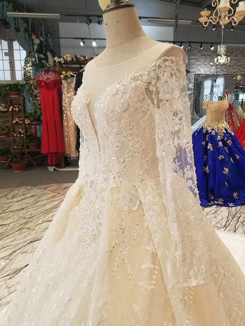 LS14702 свадебное платье с рукавамипрозрачная Длинные рукава красоты нарядное платье сделано в Китае О-образным вырезом капелька свадебное торжественное платье 2018 с длинным шлейфом