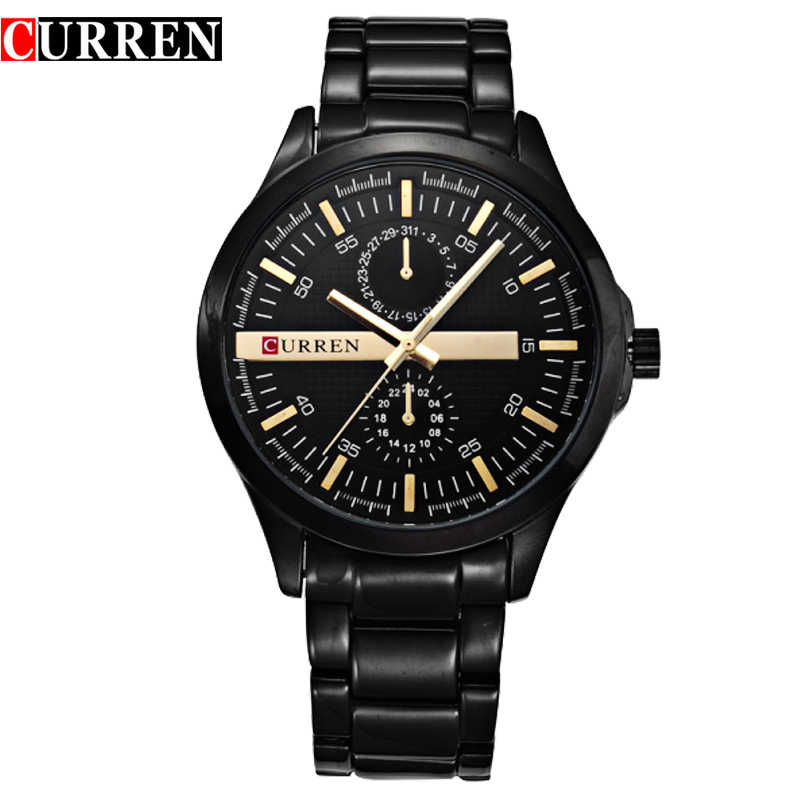 2017 New CURREN Men Waterproof Full Steel Calendar Watches clock Male Luxury Sport Wristwatches Quartz Watch relogio masculino new fashion mens watches gold full steel male wristwatches sport waterproof quartz watch men military hour man relogio masculino