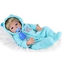 22″Full Silicone Bebe Reborn Baby Boy Dolls Lifelike Newborn Boy Babies Alive Doll for Child Bath Shower Bedtime Toy