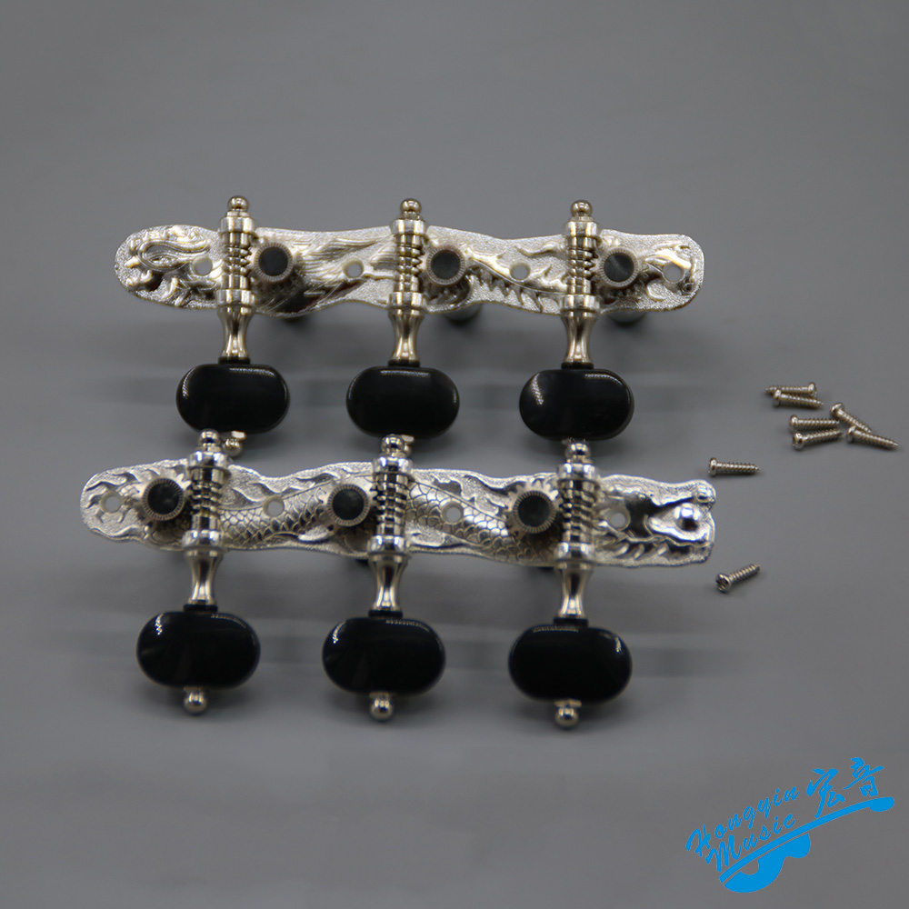 1 Pair Left and Right Classical Guitar String Tuning Pegs Machine Heads Galvanized Pure Copper Dragon And Phoenix Pattern Tuners 2 pc per set high end classical guitar tuning pegs machine heads black color up grade parts