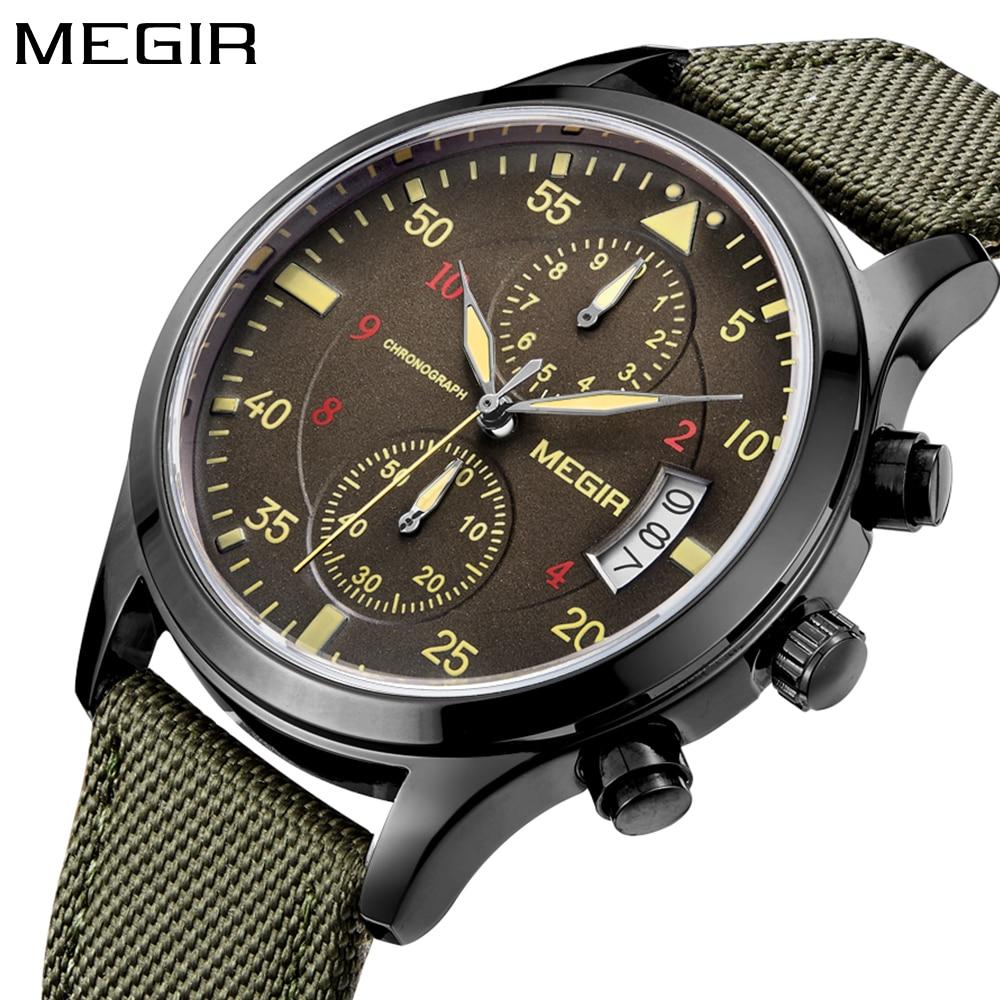 7008bfdc3ce0 Reloj Megir para hombre relojes de cuarzo verde de lujo de marca superior  reloj deportivo para hombre reloj de pulsera cronógrafo para hombre reloj  ...
