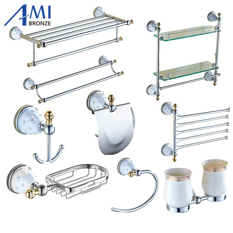 Polished Brass Bathroom Towel Bars: Chrome Polished Brass & Diamond Bathroom Accessories Bath