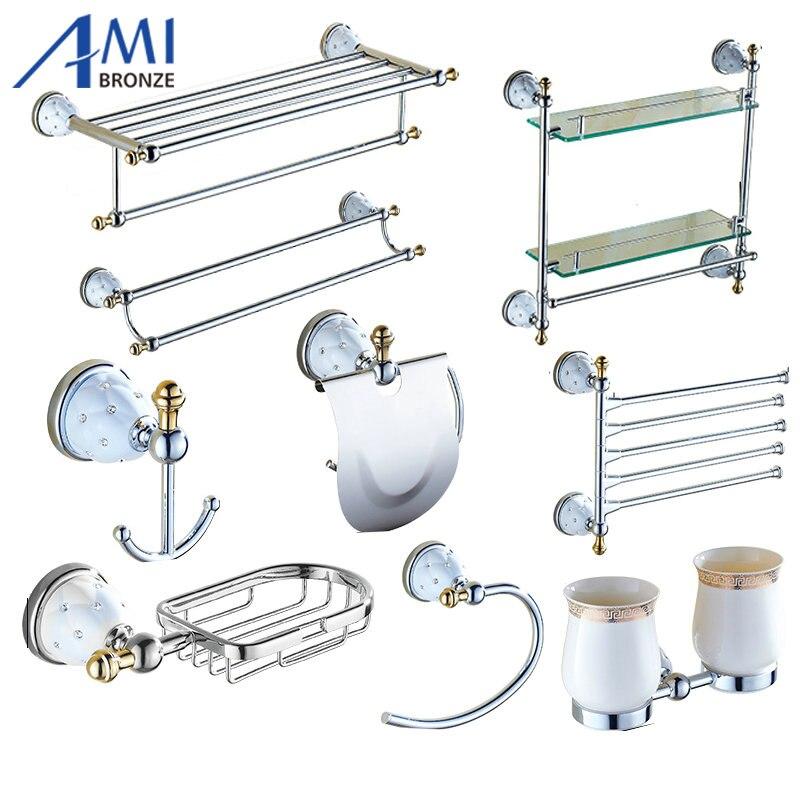 Chrome Polished Brass & Diamond Bathroom Accessories Bath Hardware Set Towel Shelf Towel Bar
