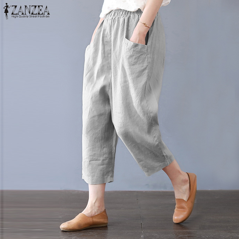 ZANZEA Women Casual Elastic Waist Cotton Linen Harem Pants Elegant Work Trousers Pockets Solid Loose Turnip Pantalon S-5XL
