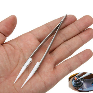 Professional Stainless Steel Ceramic Tweezers Heat Resistant Non Conductive Ceramic Pointed Tip DIY Tool