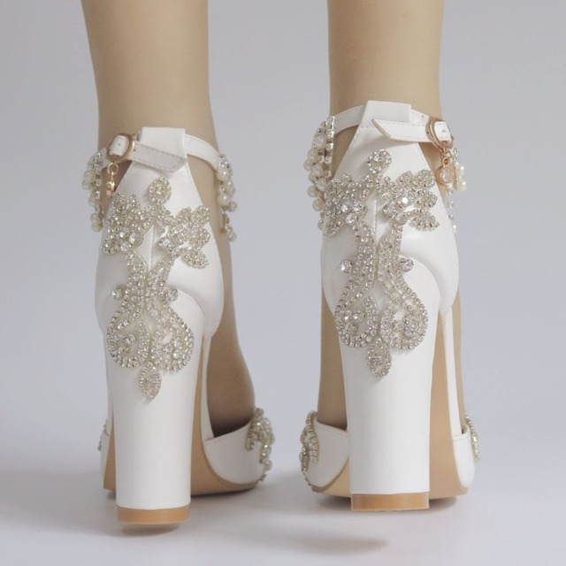 10cm thick with pointed high-heel single shoe white rhinestone beaded tassel wedding bridal shoes temperament elegant high heels