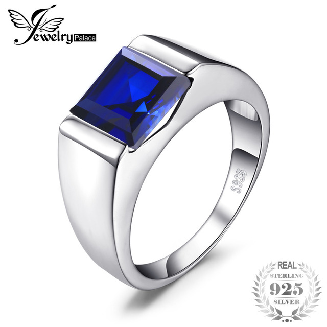 JewelryPalace Men's Square 3.3ct Created Blue Sapphire Engagement Ring Solid 925