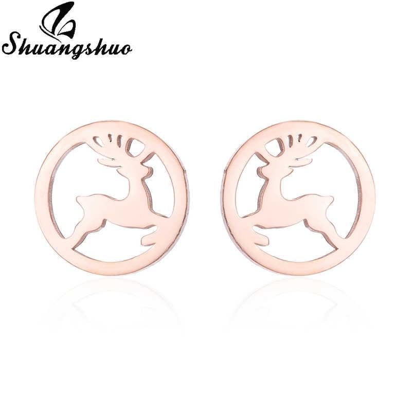 Shuangshuo สแตนเลสต่างหูสัตว์ Deer Stud ต่างหูทองรอบหูต่างหูแฟชั่นเครื่องประดับ oorbellen brincos