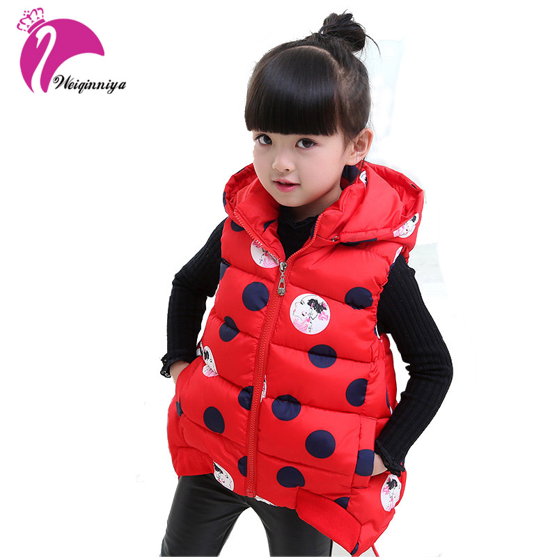 Kids Vest Girls Winter Thick Vests Fashion Children Character Pattern Dot Cotton Waistcoat Outwear Jackets Baby Girl Clothes Hot стоимость