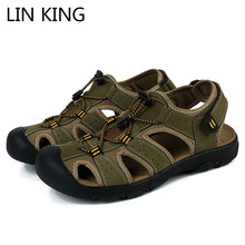 LIN KING Top Quality Men Summer Genuine Leather Gladiator Sandals Man Outdoor Shoes Comfotable Rome Beach Plus Size 50