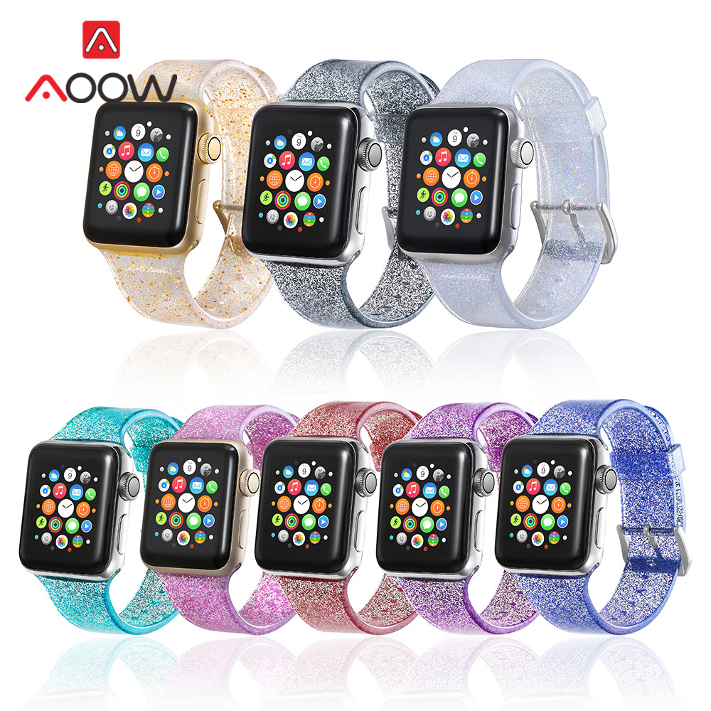Glitter Silicone Watchband for Apple Watch 38mm 42mm 40mm 44mm Clear Shining Men Women Bracelet Strap Band for iWatch 1 2 3 4 image