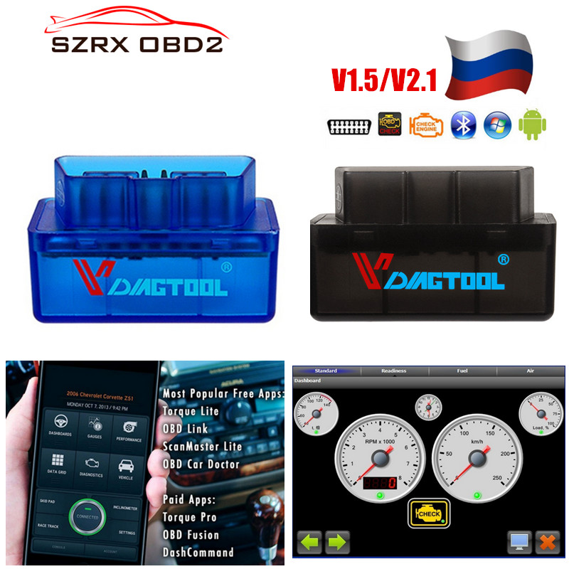 2019 Diagnostic tool <font><b>ELM327</b></font> V1.5 OBD2 <font><b>Bluetooth</b></font> Adapter Car Code Reader Scanner OBD 2 OBDII Scan Tool ELM 327 V <font><b>1.5</b></font> image