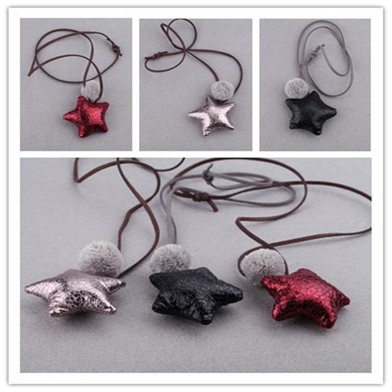 Korea Cute Handmade PU Leather Star Necklace & Pendant Baby s