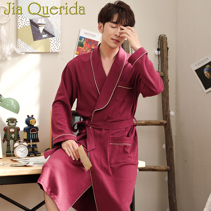 J Q Male Robe 2019 New Cotton Mens Gown High Quality Brand Bathrobes Long Sleeved Kimono