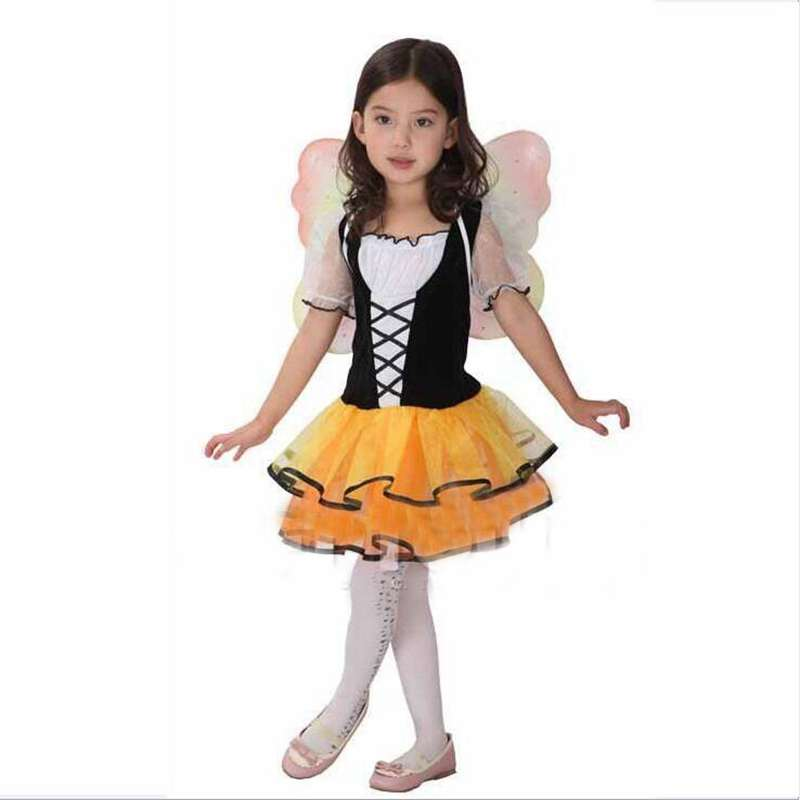 Friendly Children's Halloween Costumes Show Nifty Butterflies Wings Princess Dress Cosplay Costume In Pain
