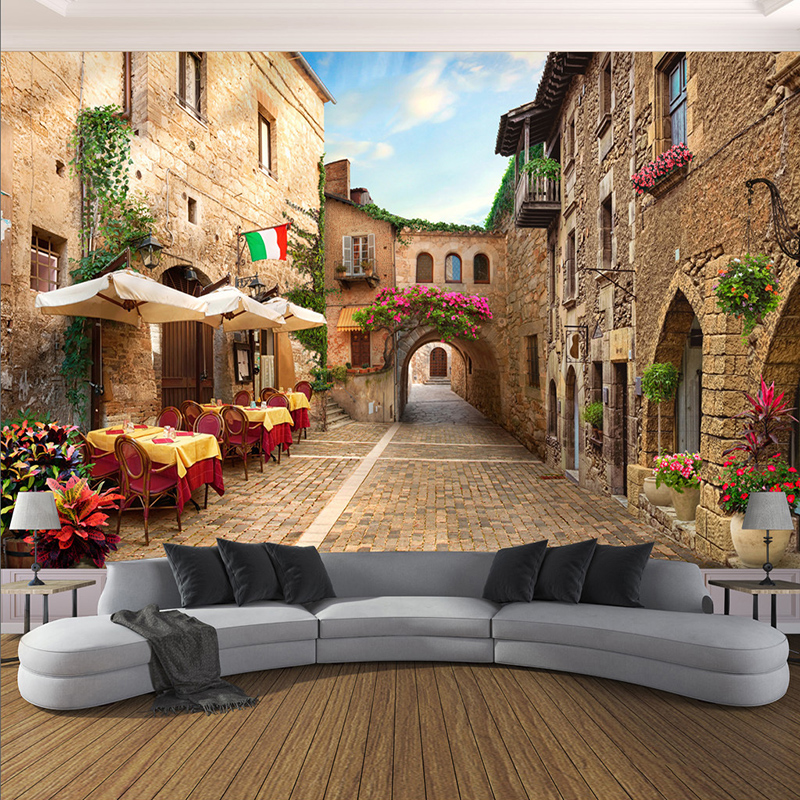 Custom Mural Wallpaper 3D City Street Landscape Wall Painting Cafe Restaurant Living Room Backdrop Wall Covering Papel De Parede