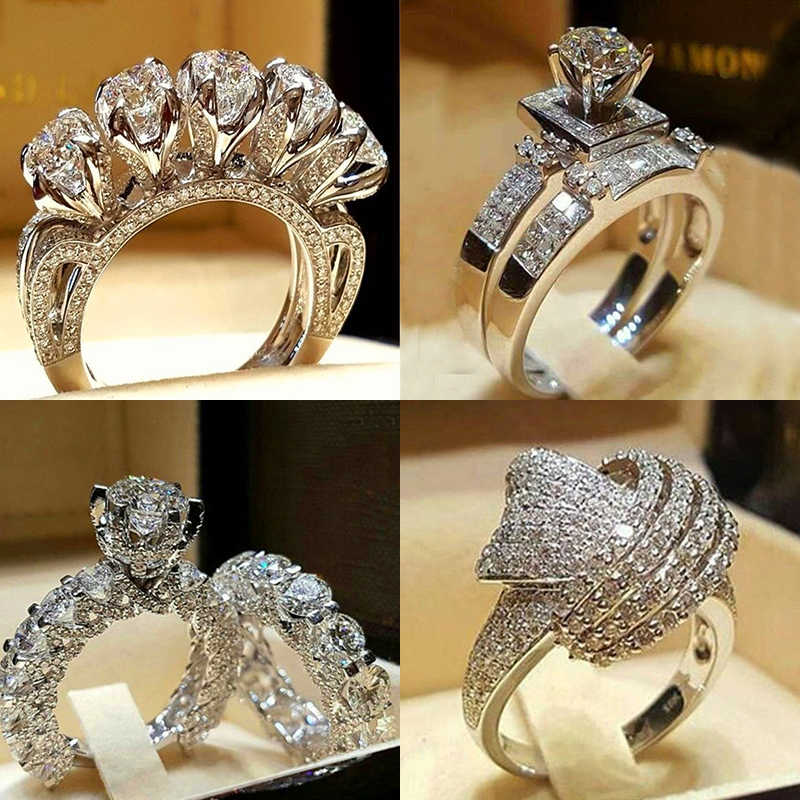 Luxury Male Female Crystal Zircon Stone Ring Vintage 925 Silver Wedding Ring Set Promise Engagement Rings For Men And Women