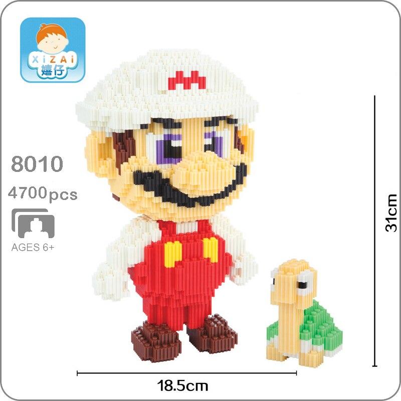 Xizai 8010 Game Super Mario Fire Mario Koopa Figure 3D Model DIY Micro Mini Building Blocks Bricks Assembly Toy 31cm tall no Box