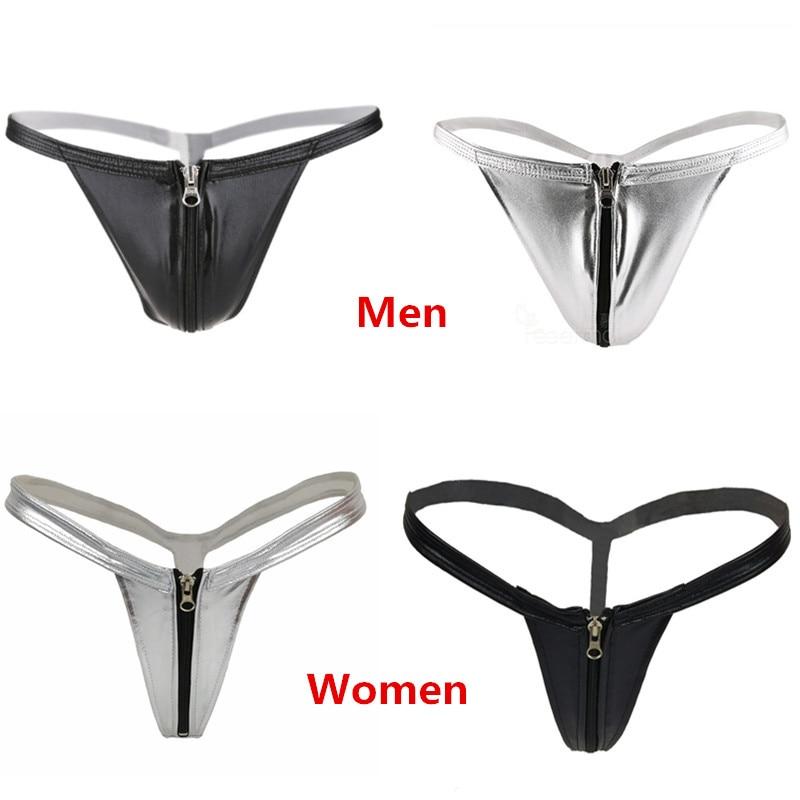 d9fac3af2938 Sexy Zipper Kulit Pria Wanita Pasangan Terbuka Selangkangan Thongs G String  Micro Bikini Tangas Celana Unisex