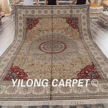 Yilong 9'x12′ pure silk orient area rugs large red oversize oriental silk carpets (SCH034A9x12)