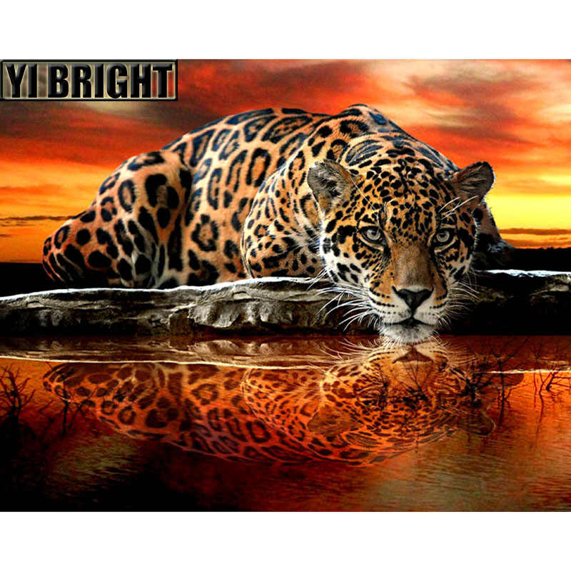 "Cross Stitch Diamond Bordir, hewan ""Panther Termasuk Sunset Lake"" Pola Penuh DIY 5D Lukisan Berlian Rhinestones Mosaik GT"
