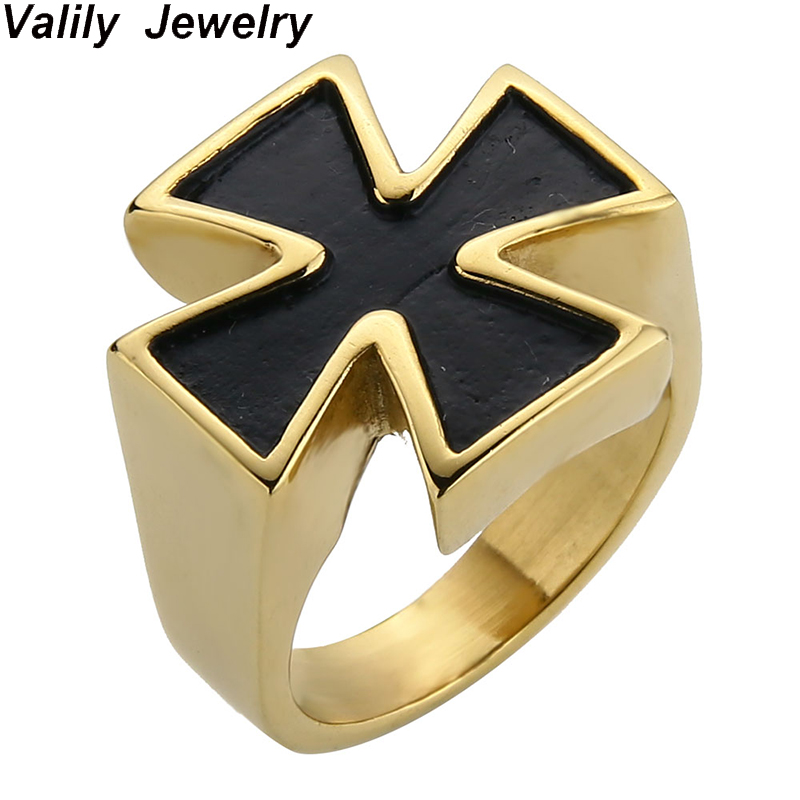 Valily Cross Ring Man Cool Biker Band Ring Gold Color Stainless Steel Fashion Simple Band Iron Cross Ring Jewelry for Men Gift