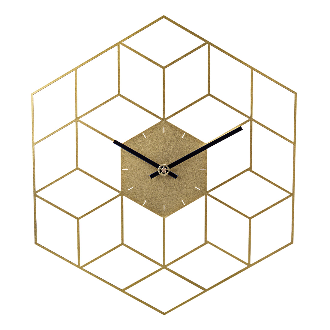 35 X 40cm Creative Iron Cube Wall Clock Timer Watch Battery Operated Silent Wall Clocks Home Decor Decoration - Scale Golden