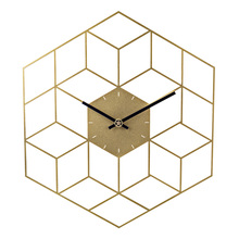 35 X 40cm Creative Iron Cube Wall Clock Timer Watch Battery Operated Silent Wall Clocks Home Decor Decoration   Scale Golden