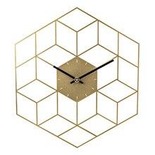 35X40 ซม.Creative Iron Cube Wallนาฬิกานาฬิกาแบตเตอรี่ดำเนินการSilent Wallนาฬิกาตกแต่งบ้านตกแต่ง scale Golden
