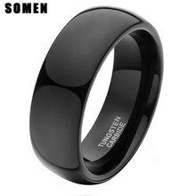 Black Tungsten Ring 8mm Brushed Matte Finished Mens Womens Wedding Band Domed Design Size 7-14