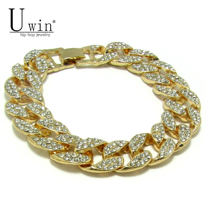 UWIN MENS ICED OUT 15mm BLING RHINESTONE MIAMI CUBAN LINK CHAIN HIP HOP BRACELET GOLD SILVER 7 rose gold black color unique new cuban link chain design cool mens jewlery hiphop rock wide cuban link chain bracelet bangle