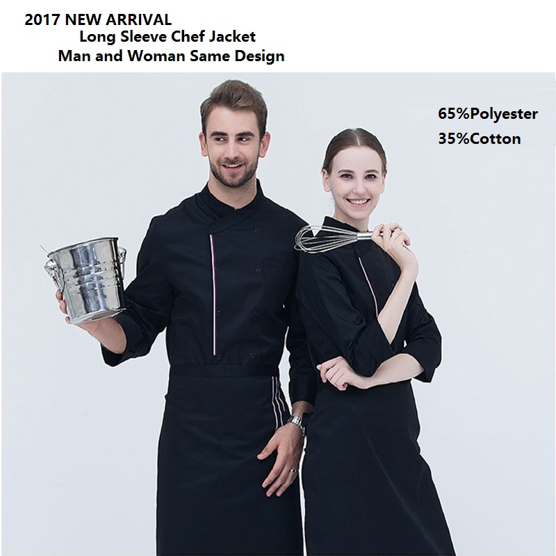 2017New!Restaurant Kitchen Man Woman Long Sleeve Chef Jacket Bakery Work Wear Bouble Button Food Service Uniform Four Color,X03