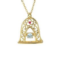 Aquamarine Pendants Necklace Ruby Circling Bell Pendant Chain Choker Topaz Diamond Necklaces for Women Girls Jewelry Gifts