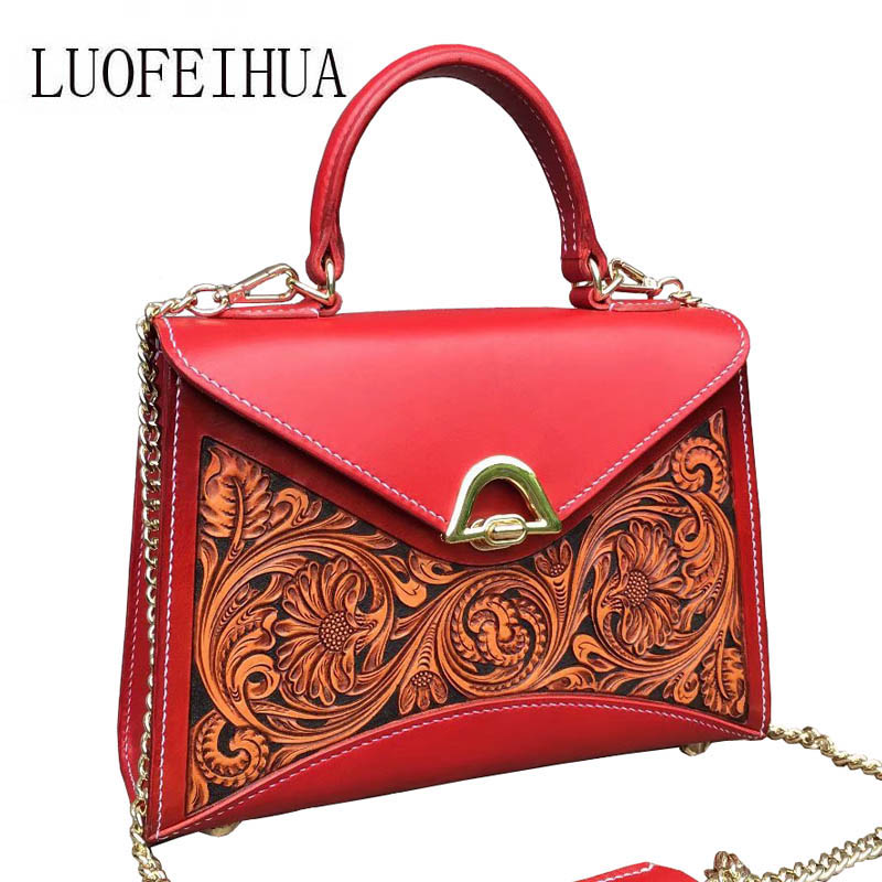 LUOFEIHUA  2019 new high-grade leather engraved embossed shoulder bag Banquet messenger bag Small square package Designer bagLUOFEIHUA  2019 new high-grade leather engraved embossed shoulder bag Banquet messenger bag Small square package Designer bag