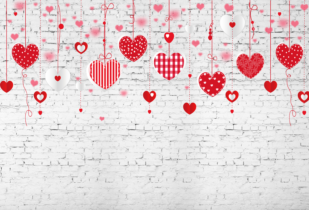 8x8FT Vinyl Photo Backdrops,Floral,Romantic Hearts Pattern Photo Background for Photo Booth Studio Props