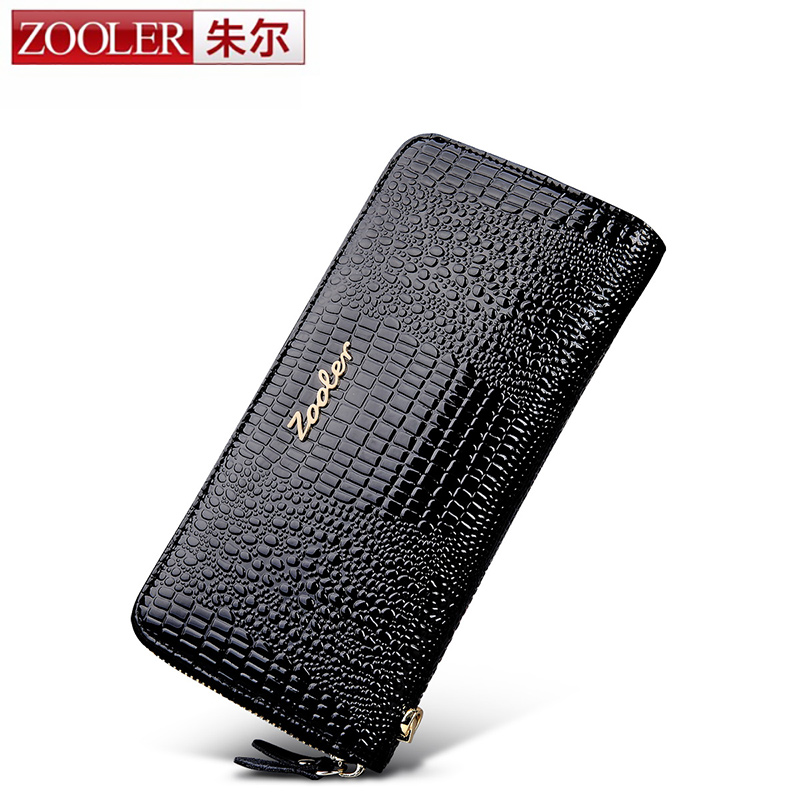 ФОТО ZOOLER 2017 NEW Genuine Leather Women Wallet Crocodile Pattern Cow Leather Wallet Fashion Women 4-colour Option Clutches#Y-8663