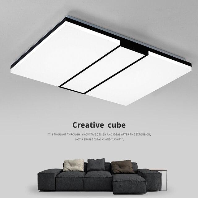 Moderne vierkante led paneel opbouw plafondlamp Wit/Zwart badkamer ...