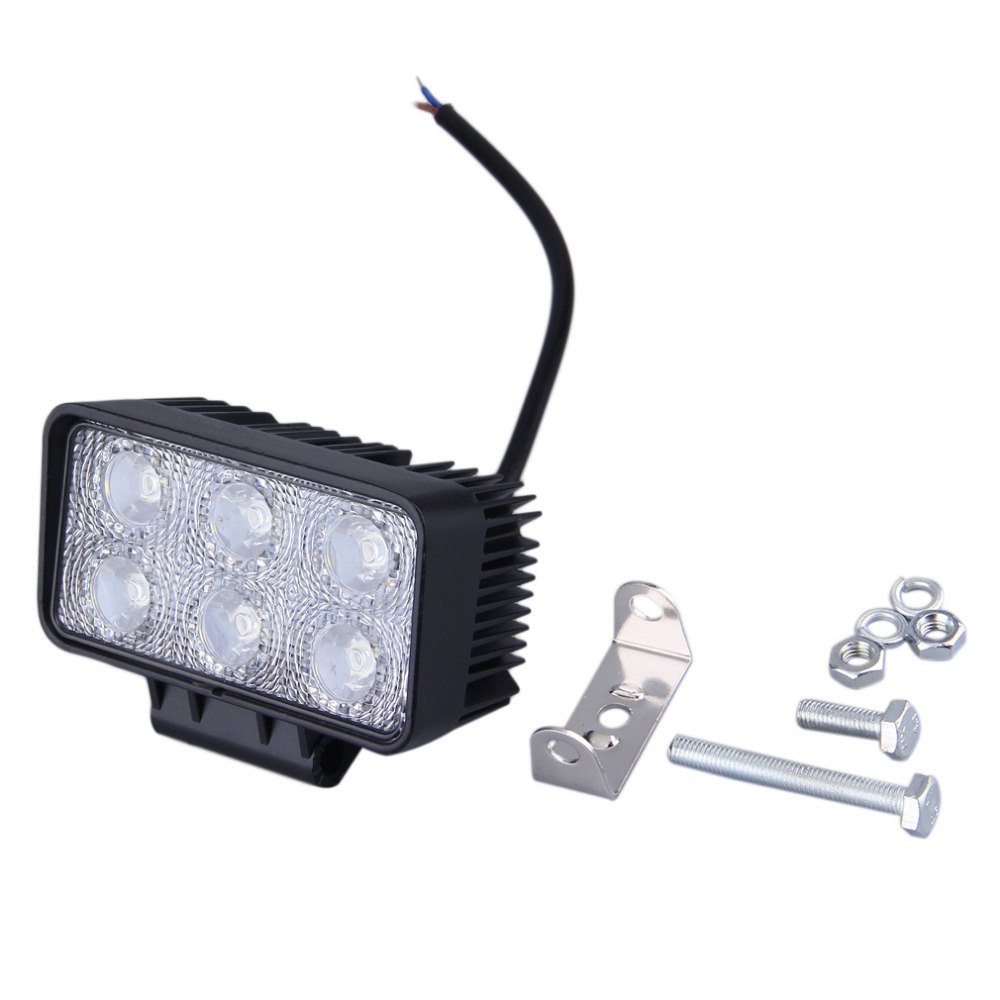 Universal 1 Sets 6LED Square Flood Beam 18W 12V 24V 6000K Light Flood Lamp Offroad Car Truck Boat Fog Driving Lights Hot