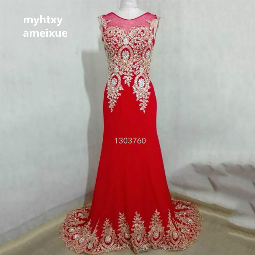 In Stock Real Sample 2018 Dubai Arabic Red Beading Mermaid Evening Dresses Long Black Formal Evening Gowns Robe De Soiree