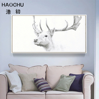 HAOCHU Hand Draw Deer Eagle Head Animals Canvas Art Print Poster Black White Minimalist Oil Painting