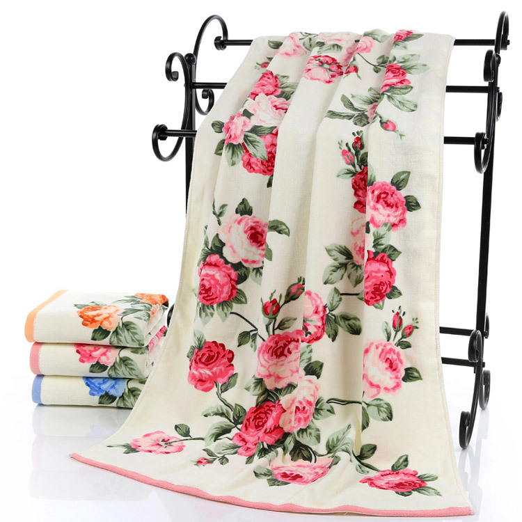 Hot sale Flower 70*140cm 100% cotton large towel bath for men luxury high quality bathroom bath towels