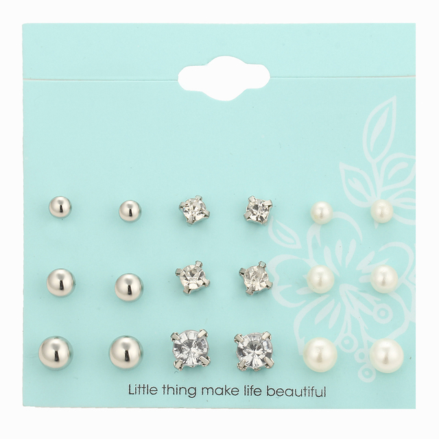 9 Pairs/set of Gold / Silver Crystal  Pearl Stud Earrings