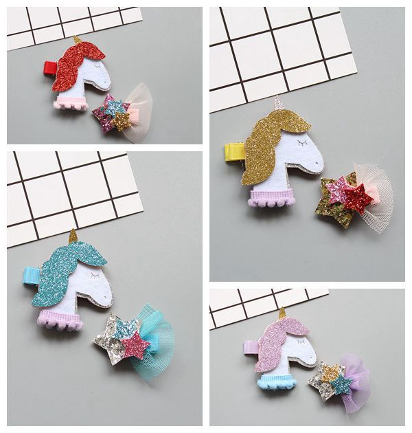 2 PCS Cartoon Shining Star Unicorn Girls Hair Accessories Hairpins Children Headwear Baby Hair Clips Headdress 1 pcs lovely cartoon swan temperament baby hairpins kids hair clips princess barrette children headwear girls hair accessories