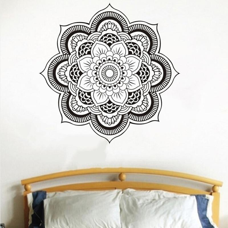 Mandala Vinyl Wall Decal Yoga Sticker Menhdi Lotus Large Pattern Ornament Indian Mural Stickers Home Decor Living Room