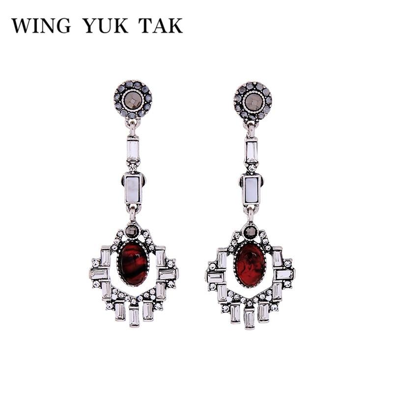 Wing Yuk Tak 2018 New Vintage Geometric Ren Stone Hollow Rhinestone Drop Earrings For Women Bijoux