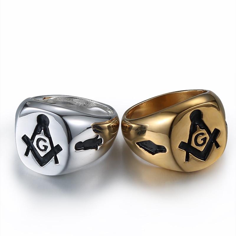 Aibeiou In Acciaio Inox Massoneria Oro/argento Uomo Anello Massonico Anelli Per Gli Uomini. Lussuoso Nel Design