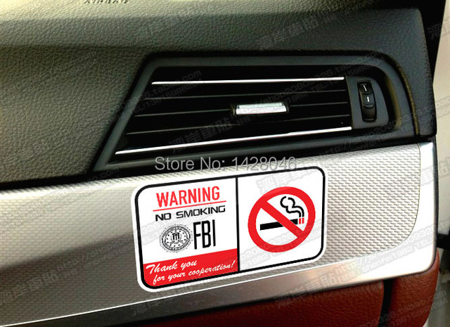 Free shiping fbi car sticker no smoking reflective logo black white all color usa police