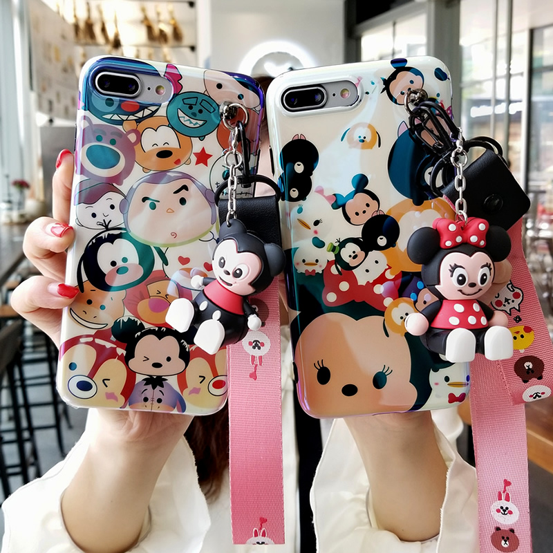 For iPhone XS case 5.8 inch blue light  Mickey cover for iPhone X 8 6 6s plus minnie case for iPhone 7 plus + 3D holder +2 strap