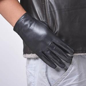 Image 3 - St.Susana 2018 men fashion simple brief England Russian gift show Male sheepskin genuine leather thin short gloves winter